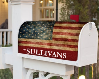 Custom American Flag Old Glory Personalized Mailbox Cover Magnetic Mail Box Wrap Yard Garden Decor Personalized w your Name or Address