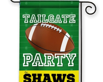 Tailgate Party Football Themed Personalized Garden Flag Yard Sign Banner Decor Decoration Personalize with your Family Name