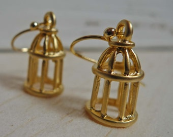 Fly away with me,  Birdcage Gold Plated Drop Earrings