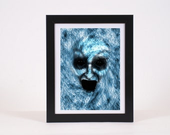 Blue demon creepy scary halloween digital art print, digital download, printable,