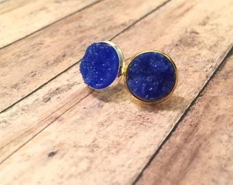 Deep Blue Druzy, 12mm Druzy, Deep Blue Earrings, Faux Druzy Earrings