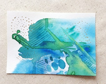 "Original Mini Abstract Watercolor Painting Green Blue Metallic Gold Detail Modern Minimalist Wall Art 4x6"" Small Peaceful Vibrant Colors"