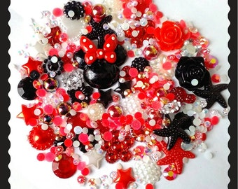 Minnie mouse polka dot bow Diy decoden kit~ Red/black mix