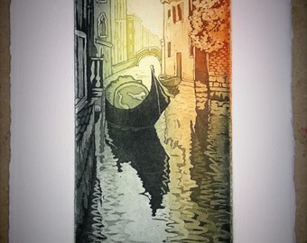 etching aquatint numbered only 14 x 7 x 12 sheet no .5 cm frame signature channel, full sheet with gondola Venice