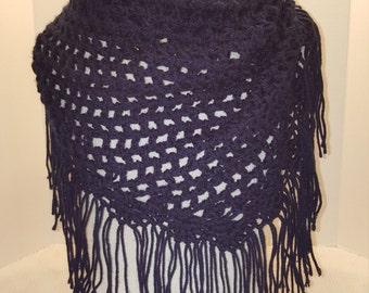 Crocheted Fringe Shawl Scarf