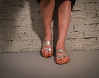 Strappy Sandals, Silver Leather Sandals, Summer Flats, Women Shoes, Leather Flats, Greek Sandals
