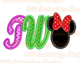 Two Minnie Embroidery Applique Design, Mouse ears Machine embroidery,  ms-110