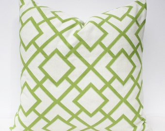Green and White Geometric Fret Pillow Cover - Green White 18 x 18