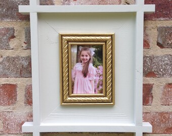 Eastern inspired 4x6 or 5x7 white, picture frame.