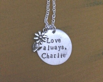 Perks of Being a Wallflower inspired hand stamped necklace.
