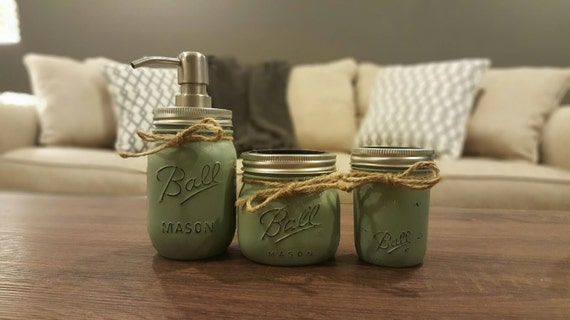 Sage green 3 piece mason jar bathroom set small bathset for Small bathroom jars