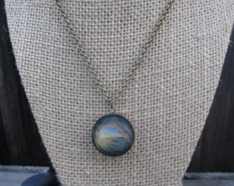 Wave and Sunset Pendant, beach necklace, handmade
