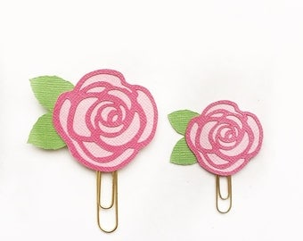 Pink and Green Rose Paper Clip