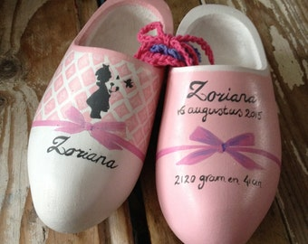 Pink decoration clog shoes, birth nuggets with name for birth, baptism, hand painted in blue and pink, all colors