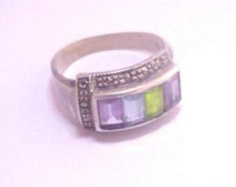 Antique Multigem Ring , sterling silver Multistone Ring