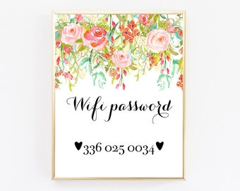 Wifi Password Printable, Home Decor Wall Art, Floral Print, Home Decoration, Home Sign, Wall Decor Living Room, Guest Room Decor, Floral Art