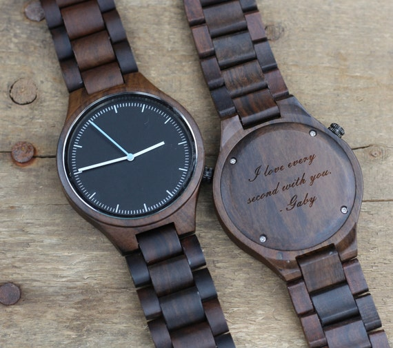 Custom engraved wood mens wrist watch