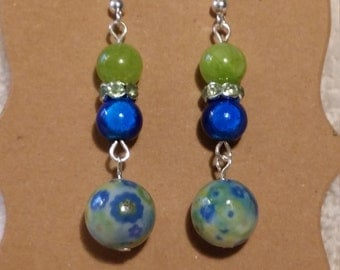 Blue & Light Green Beaded Dangle Fish Hook Earrings with Peridot Green Rondelle Crystals