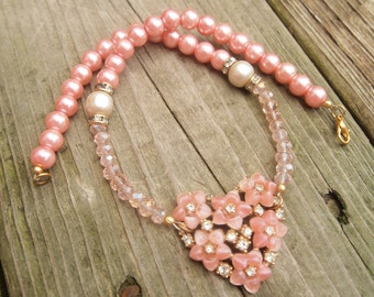 Gift for Her, Repurposed Assemblage Necklace, Bogoff Flower Brooch Pink Pearl Necklace, Vintage Pearls, Rhinestone & Crystal, Mother's Day
