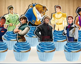 PRINTABLE Disney Prince Cupcake Toppers, Disney Princes Cupcake Picks, You Print