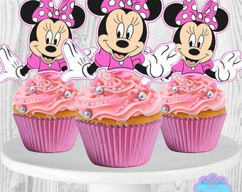 PRINTABLE Minnie Mouse Cupcake Toppers, Cupcake Picks INSTANT DOWNLOAD