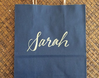 Personalized Gift Bag, Gold and Navy, Hand-lettered, Customized, Bridesmaid Gift, Groomsmen, Christmas, Wedding