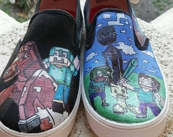 MineCraft Hand-Painted Canvas Shoes