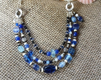 Cobalt and White Triple-Strand Necklace