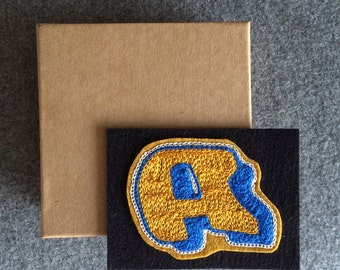 """Custom chain stitch embroidered alphabet letters 2"""" x 3"""" in variety of colors."""