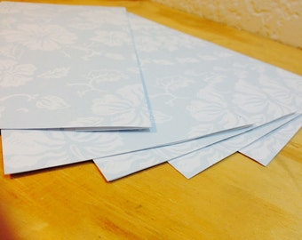Set of 5 Blue Hawaiian Print Paper Envelopes