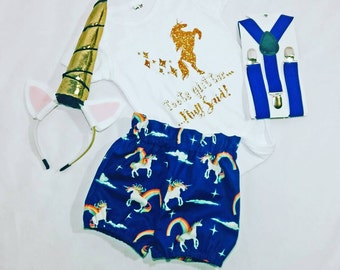 Unicorn Onesie or Navy Unicorn Shorts- 1 Pair Left!