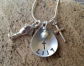 First Communion gift. First Communion necklace. keepsake necklace with name,First Communion jewelry, religious gift, girls religious gift
