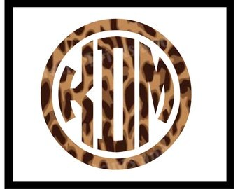 Leopard Print Circle Monogram Decal, Framed Circle Monogram, Traditional Leopard, Cheetah Print, Animal Print Monogram, Car Monogram, Yeti