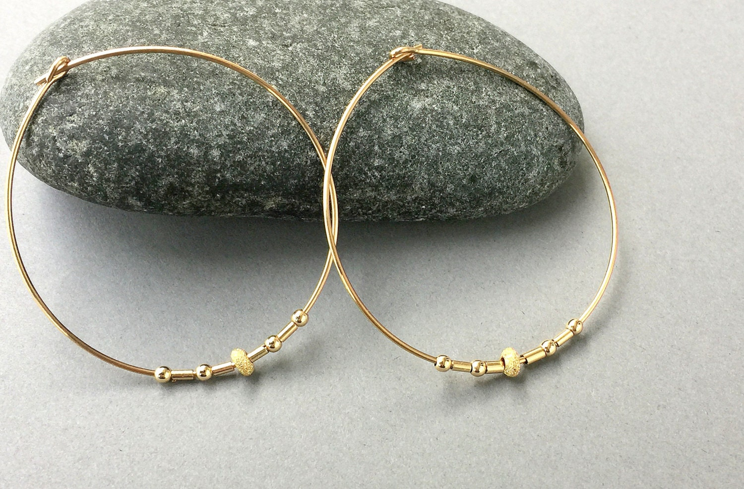 Large Gold Hoops Delicate Gold Earring Gold Large Earrings