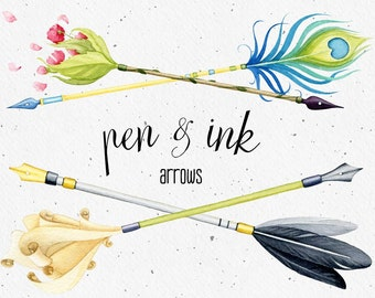 Watercolor clipart, Arrows, dip pen clipart, ink clip art, floral clipart, boho clipart, feather, arrow clipart, pen arrows, dip pen nib