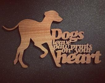 Lurcher paw prints Plaque - Wooden Lurcher paw prints Plaque - Lurcher Plaque. Perfect for Lurcher lovers. Lurcher obsessives.