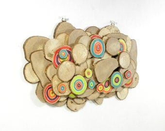 Deco wall in wood, wall sculpture, slices of wood, Scandinavian modern design