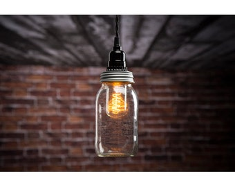 Mason Jar Pendant Light Kit w/ 15.5 ft cord - Turn any regular mouth Mason