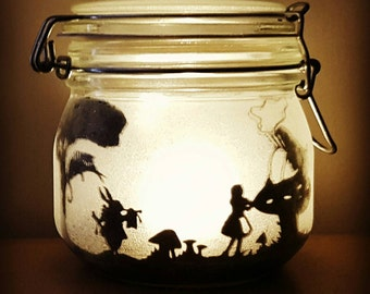 Alice in wonderland jar light with Cheshire cat, mad hatter, March hare, white rabbit (based on the original Tenniel illustrations)