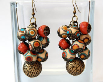 Fimo clay earrings Colorful polymer clay earrings Long fimo earrings Cluster beaded earrings Fimo jewelry Handmade fimo earrings