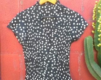 Vintage polkadot blouse, pinup style top