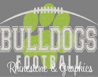 Bulldogs Football Paw Print  Design Pattern Graphic Design Instant Download EPS SVG DXF  Cutting Files Cameo