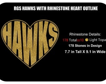 Hawks Heart Shaped Outlined with Rhinestones Instant Download