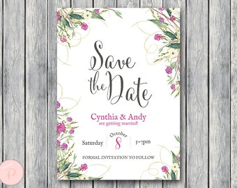 Floral Save The Date Wedding Invitation, Invitation Printable, Bridal Shower Invitation, Wedding InvitationTG00 WS69