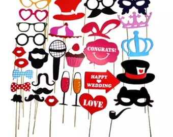 ON SALE!!! Wedding Party Photo Booth Props - 31 Piece Wedding Favor Set - Bridal Shower Photobooth Birthday Photo Props