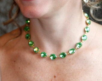 N-0107 - Peridot Swarovski Crystal Georgian Collet Necklace