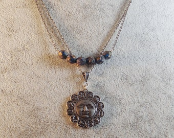 Antique Silver Celestial Necklace with Dark Blue Metallic Washed Beads
