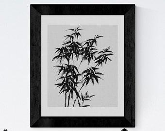 Printable Art, Botanical Print, Flower Prints Wall Art, Black and White Photo, Leaves Print, Minimalist Print, Plant print, Flower Printable