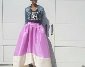 The CARRIE Satin Taffeta High-Low Ball Skirt (XS - 6XL) Lavender/Ivory, Black/Ivory