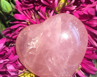 Be Mine - Polished Hand Carved Rose Quartz Heart